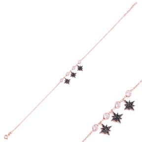 Minimalist Star Design Turkish Wholesale Handcrafted Silver Zirconia Stone Anklet