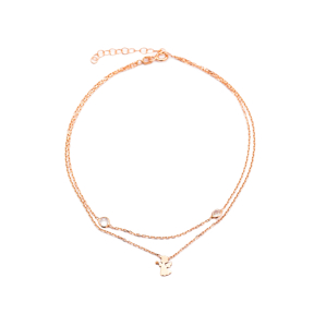 Double Chain Angel Design Anklet Wholesale Handcrafted Silver Foot Bracelet