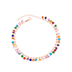 Colorful Zircon Anklet Wholesale Handcrafted 925 Sterling Silver Jewelry