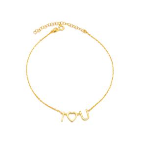 I LOVE U Letter Design Anklet Turkish Wholesale Handcrafted 925 Sterling Silver Jewelry