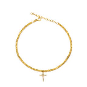 Cross Charm Design Beaded Anklet Turkish Wholesale Handcrafted 925 Sterling Silver Jewelry