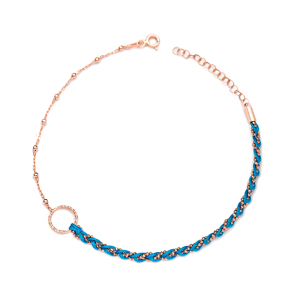 Blue Dainty Unique Design Ball Chain Anklet Wholesale Handmade Turkish 925 Sterling Silver Jewelry