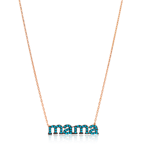 Mama Design Turquoise Stone Sterling Silver Jewelry Pendant