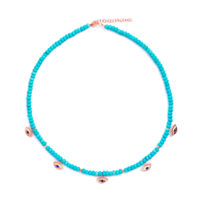 Turquoise Bead Necklace Evil Eye Charm Pendant 925 Sterling Silver Jewelry