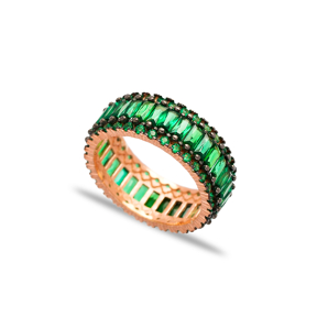 Emerald Stone Silver Band Ring 925 Sterling Silver Jewelry