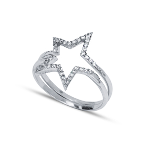 Combinable Binary Zircon Stone Silver Star Ring