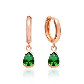 Pear Shape Emerald Earrings Turkish Wholesale 925 Sterling Silver Jewelry
