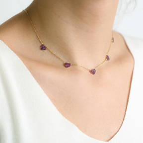 Ruby Stone Heart Charm Necklace Wholesale Handmade 925 Silver Sterling Jewelry