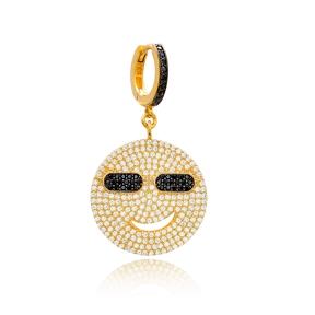 Black Zircon Smile Emoji Design Dangle Earrings Turkish Wholesale Handmade 925 Sterling Silver Jewelry