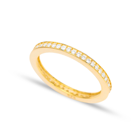 Lovely Micro Pave Zircon Band Ring Wholesale Handcrafted Silver Jewelry