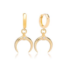 Horn Design Zircon Stone Dangle Earring Turkish Wholesale Handmade 925 Sterling Silver Jewelry