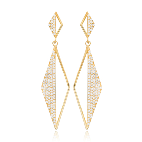 Rhomb Shaped Zircon Stone Design Long Earrings Turkish Wholesale Sterling Silver Jewelry