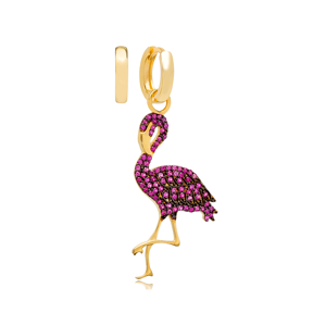Ruby Flamingo Design Turkish Wholesale Handmade 925 Silver Charm Earring