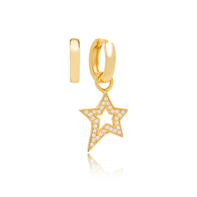 Fancy Star Zircon Stone Design Turkish Wholesale Handmade 925 Silver Charm Earring