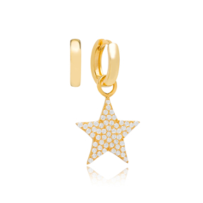 Lucky Star Zircon Stone Design Turkish Wholesale Handmade 925 Silver Charm Earring