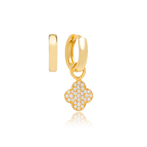 Mini Clover Zircon Stone Design Turkish Wholesale Handmade 925 Silver Charm Earring
