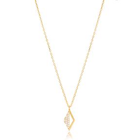 Mini Rhomb Design Pendant Turkish Wholesale Handmade 925 Sterling Silver Jewellery