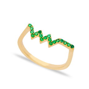 Zigzag Emerald Stone Beaded Ring Wholesale Turkish Handcrafted 925 Sterling Silver Jewelry