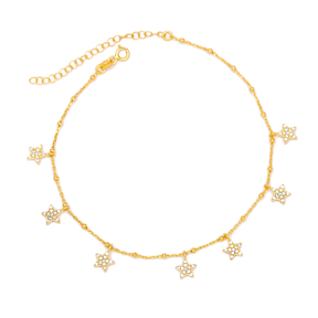 Shiny Star Zircon Stone Design Anklet Turkish Wholesale Handcrafted 925 Sterling Silver Jewellery