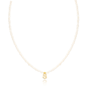 Mini Pearls Design Necklace With S Letter Zircon Stone Charm Turkish Wholesale 925 Sterling Silver Jewellery