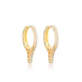 Zircon Stone Sting Design Hoop Earring Turkish Wholesale Handmade 925 Sterling Silver Jewelry