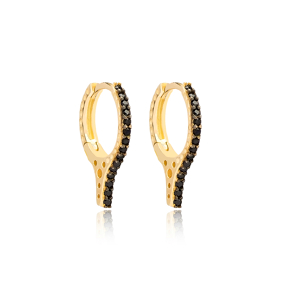Black Zircon Stone Sting Design Hoop Earring Turkish Wholesale Handmade 925 Sterling Silver Jewelry