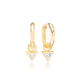Triangle Dangle Zircon Stone Hoop Earring Wholesale Handmade Turkish 925 Silver Sterling Jewelry