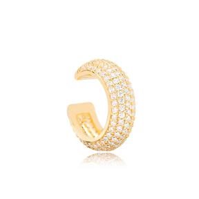 Ø17 mm Sized Zircon Stone Elegant Cartilage Earring Wholesale Turkish 925 Silver Sterling Jewelry