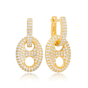 Zircon Stone Oval Charm Earring Turkish Wholesale Handmade 925 Sterling Silver Jewelry