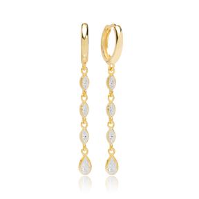 Drop Shape Zircon Dangle Earring Turkish Wholesale Handmade 925 Sterling Silver Jewelry