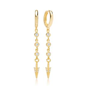 Elegant Arrow Zircon Dangle Earring Turkish Wholesale Handmade 925 Sterling Silver Jewelry
