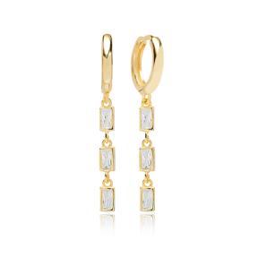 Fashionable Rectangle Zircon Dangle Earring Turkish Wholesale Handmade 925 Sterling Silver Jewelry