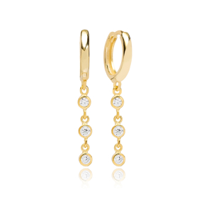 Minimalist Round Zircon Dangle Earring Turkish Wholesale Handmade 925 Sterling Silver Jewelry