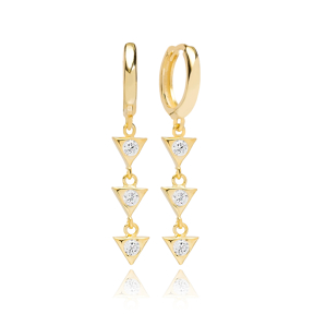 Lovely Triangle Dangle Earring Turkish Wholesale Handmade 925 Sterling Silver Jewelry