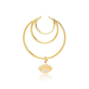 Multi Hoops Eye Shaped Charm Zircon Stone Cartilage Single Earring Wholesale Turkish 925 Silver Sterling Jewelry