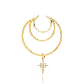 Multi Hoops Funky Star Charm Zircon Stone Cartilage Single Earring Wholesale Turkish 925 Silver Sterling Jewelry