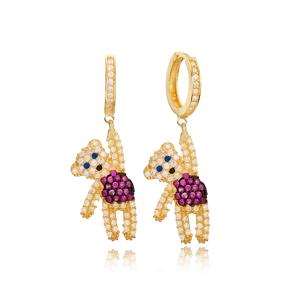 Teddy Bear Design Dangle Earring Wholesale Handmade 925 Silver Sterling Jewelry
