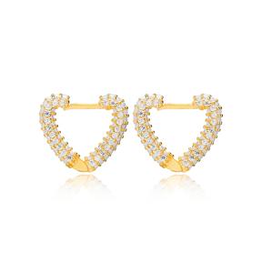 Posh Heart Hoop Zircon Stone Earring Wholesale Handmade Turkish 925 Silver Sterling Jewelry