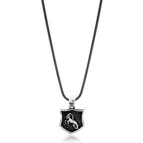 Capricorn Zodiac Сharm Men Flat Curbed Chain Wholesale Handmade 925 Sterling Silver Men Necklace