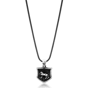Leo Zodiac Charm Men Flat Curbed Chain Wholesale Handmade 925 Sterling Silver Men Necklace