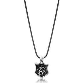 Sagittarius Zodiac Charm Men Flat Curbed Chain Wholesale Handmade 925 Sterling Silver Men Necklace