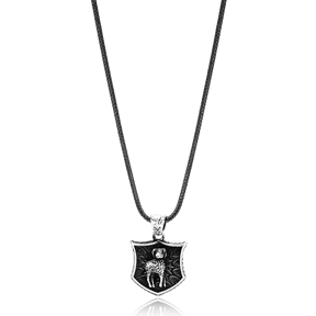 Aries Zodiac Charm Men Flat Curbed Chain Wholesale Handmade 925 Sterling Silver Men Necklace