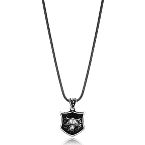 Lone Wolf Charm Men Flat Curbed Chain Wholesale Handmade 925 Sterling Silver Men Necklace
