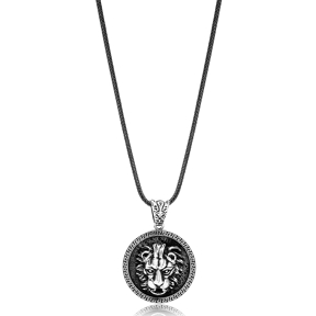 Fierce Lion Ø27 Charm Men Flat Curbed Chain Wholesale Handmade 925 Sterling Silver Men Necklace