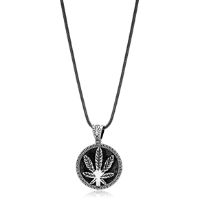 Cannabis Leaf Ø27 Charm Men Flat Curbed Chain Wholesale Handmade 925 Sterling Silver Men Necklace