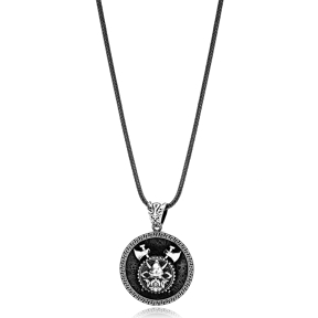 Viking Warrior Ø27 Charm Men Flat Curbed Chain Wholesale Handmade 925 Sterling Silver Men Necklace