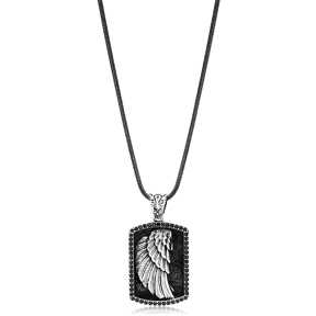 Angel Wing Charm Men Flat Curbed Chain Wholesale Handmade 925 Sterling Silver Men Necklace