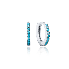 Turquoise Hoop Earrings Minimal Design Wholesale Turkish 925 Sterling Silver Jewellery