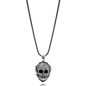 Men Skull Charm Flat Curbed Chain Wholesale Handmade 925 Sterling Silver Men Necklace