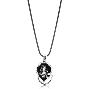 Lion With Sword Charm Flat Curbed Chain Wholesale Handmade 925 Sterling Silver Men Necklace